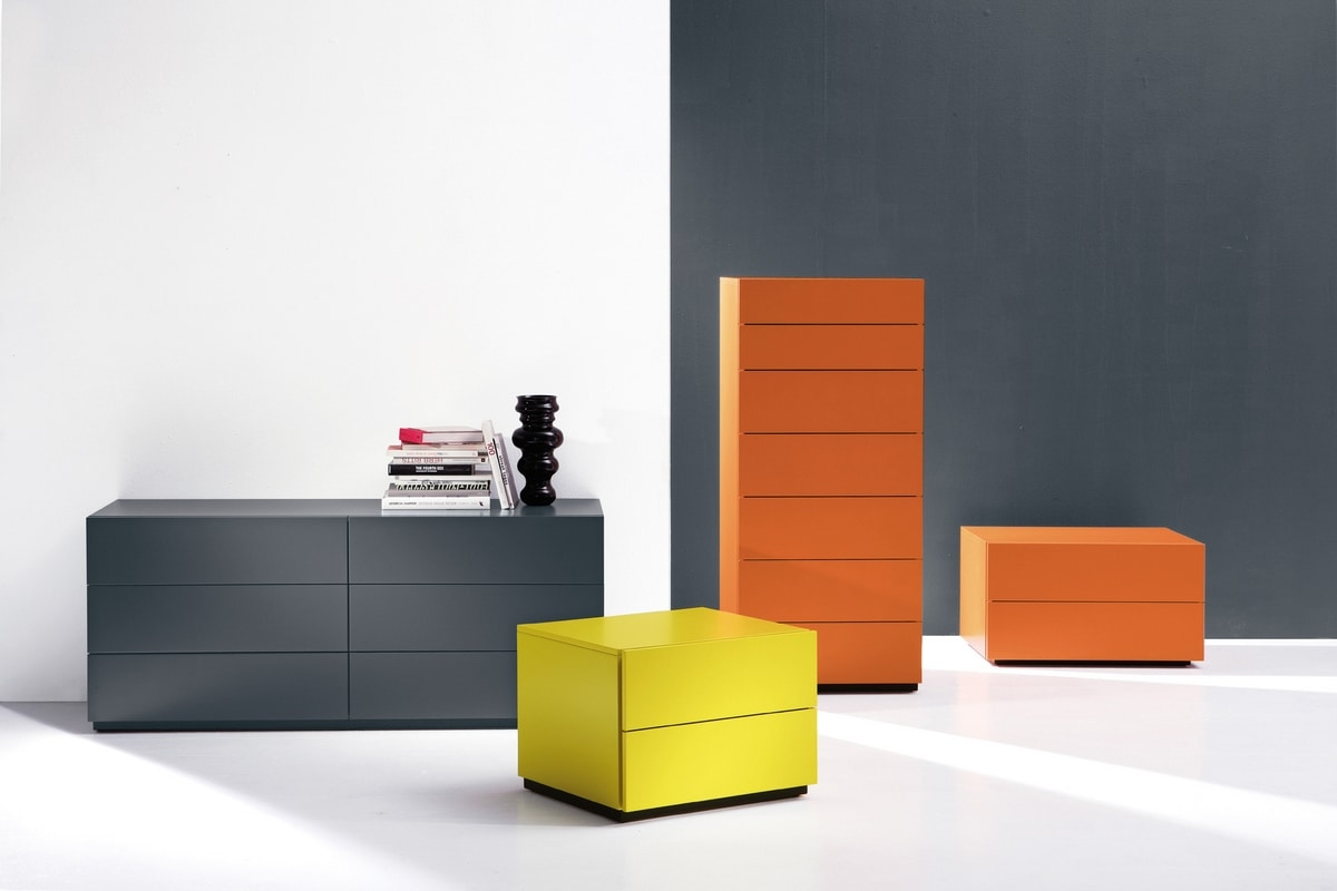 HARU nightstand, Cabinets with drawers with an essential style