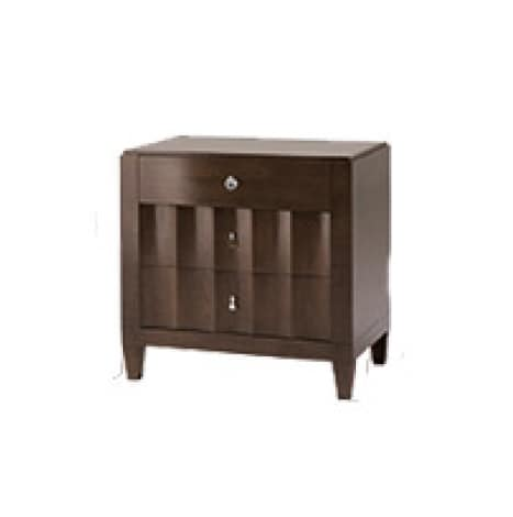 Heritage nightstand, Wooden bedside table, with wave form fronts drawers
