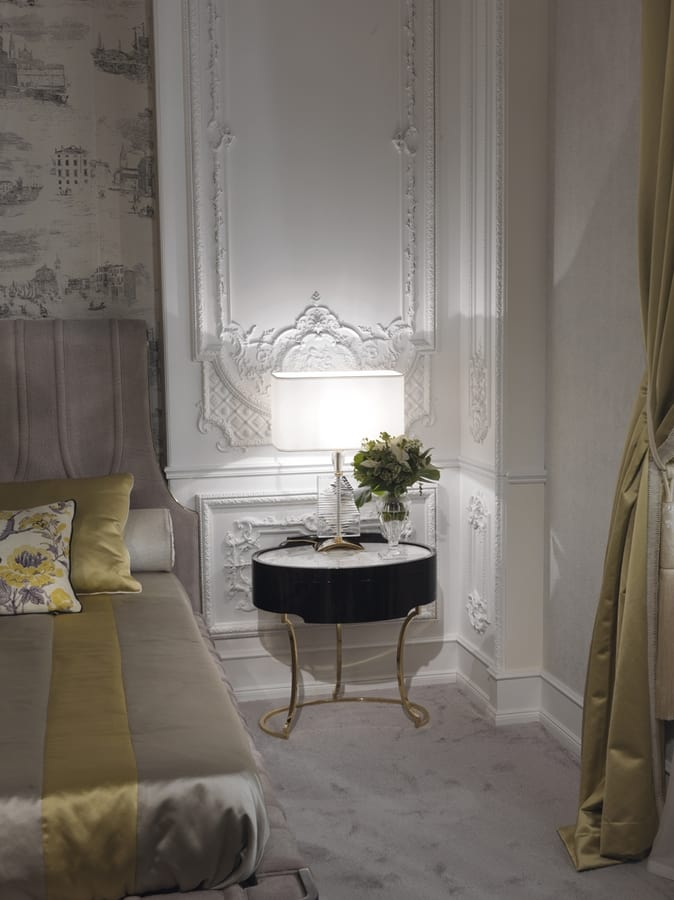 Hotel de Ville Bedside table, Bedside table with marble top