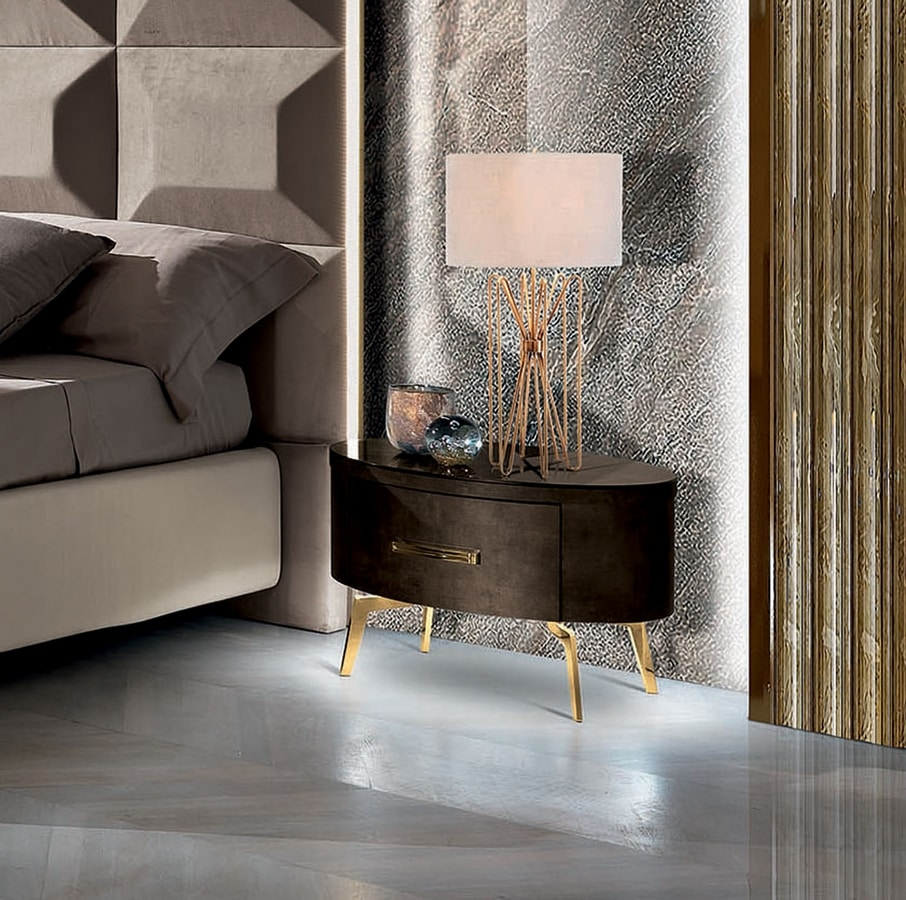 Incanto bedside table, Bedside table with soft shapes