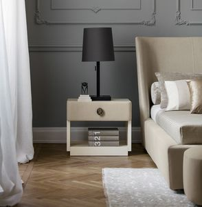 Jasmine, Bedside table in wood and leather