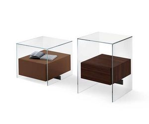Kit Bedside table, Bedside in glass with wooden drawer, for guest rooms