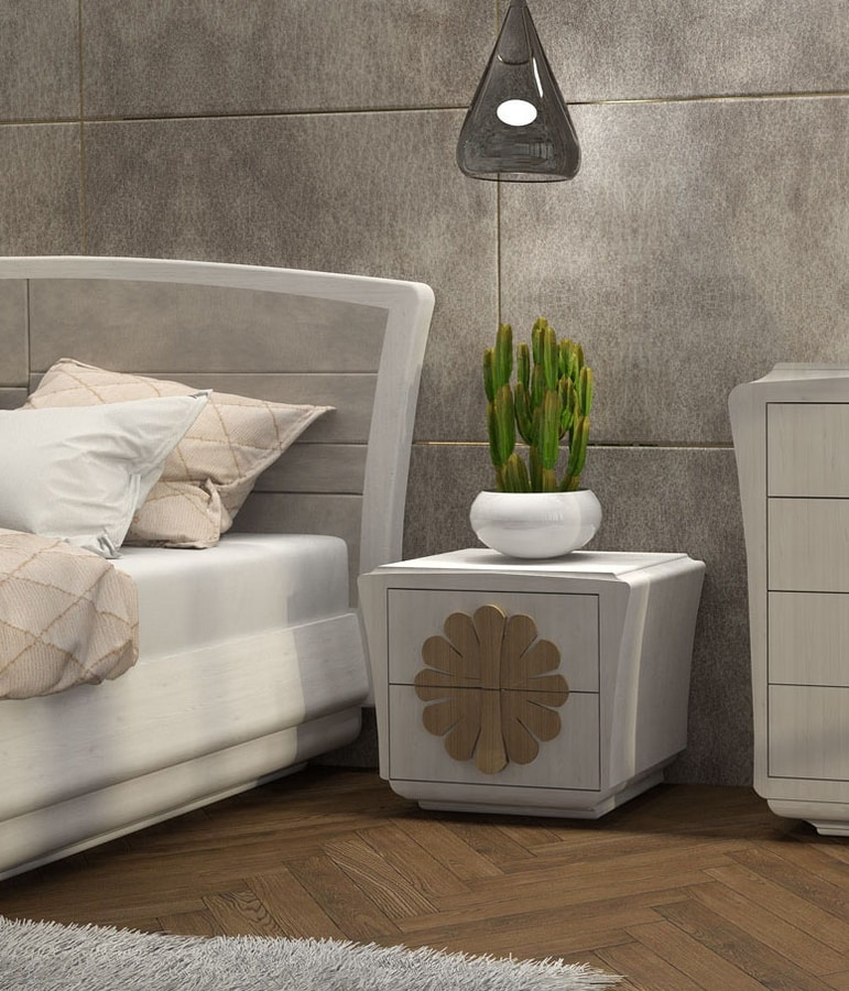La Nuit nightstand, Bedside table with front decoration