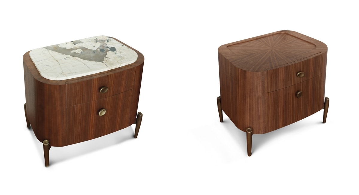 LAPETO nightstand GEA Collection, Bedside table in canaletto walnut wood, with marble top