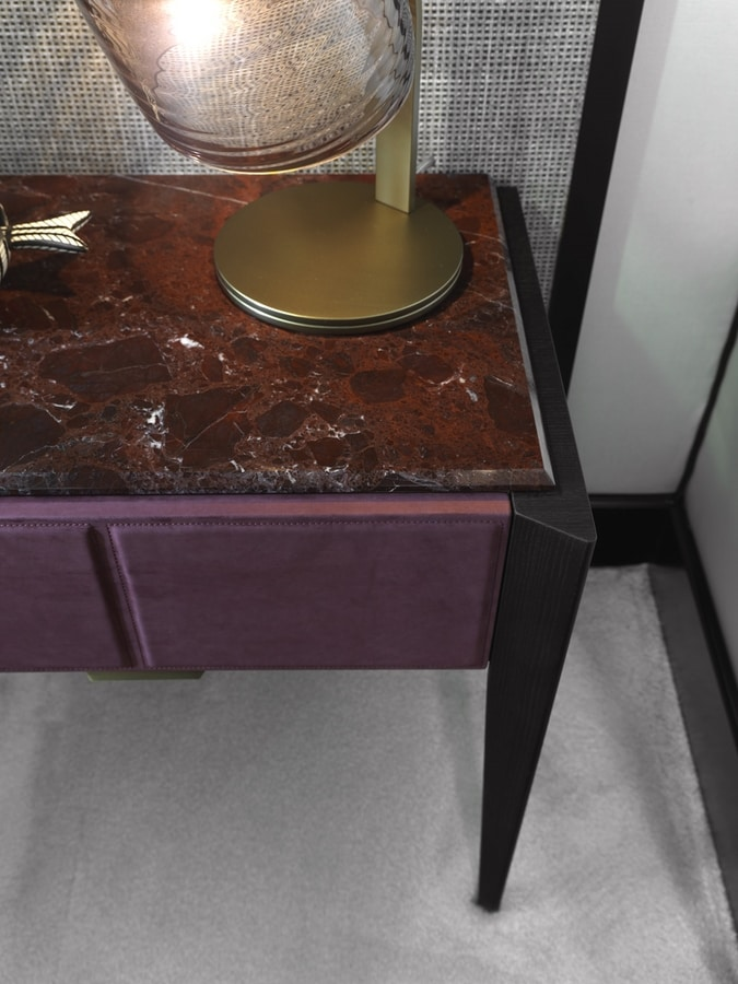 LEPANTO Nightstand, Bedside table with drawer covered in leather