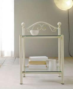 Lina Bedside Table, Bedside table in painted iron and 2 glass shelves