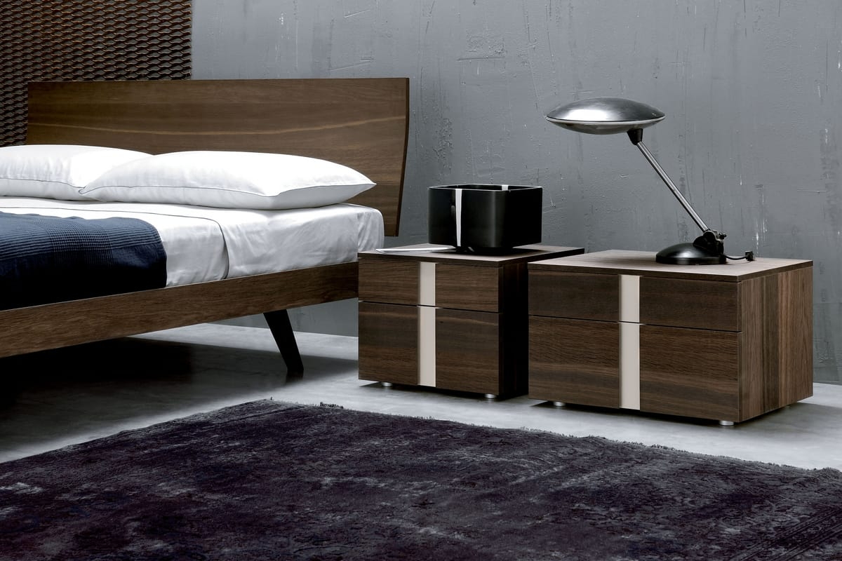 Wooden Bedside Table With Two Drawers Modern Style Idfdesign
