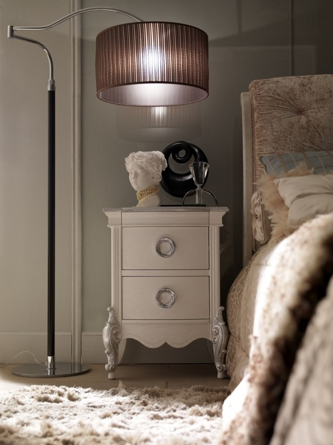 Liò white lacquered nightstand, White lacquered bedside table