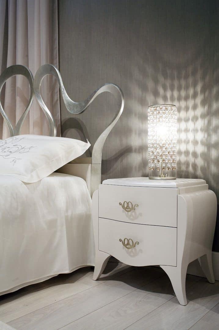 Lorenzo bedside table, Solid wood bedside table, handles laser cut