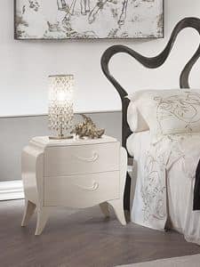 Lorenzo bedside table, Solid wood bedside table, handles laser cut