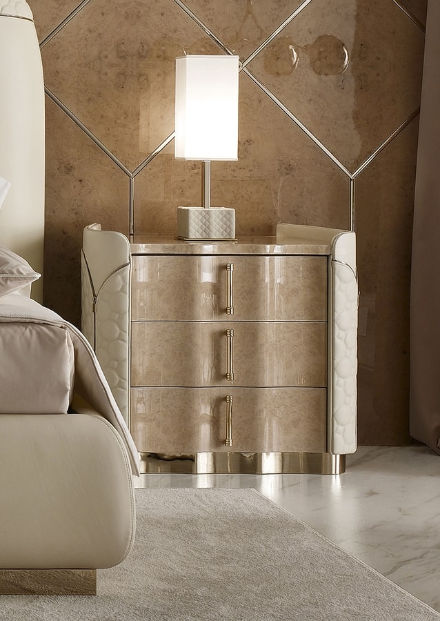 Mason nightstand, Bedside table in leather and myrtle briar