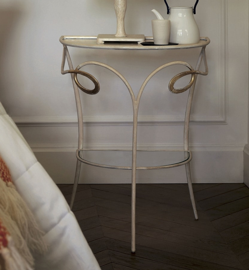 Minuetto, Coffee table / bedside table in iron and crystal