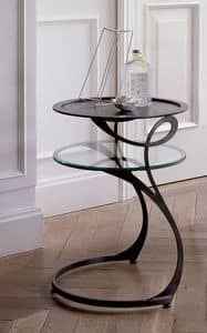 Moby, Iron bedside table with glass shelf