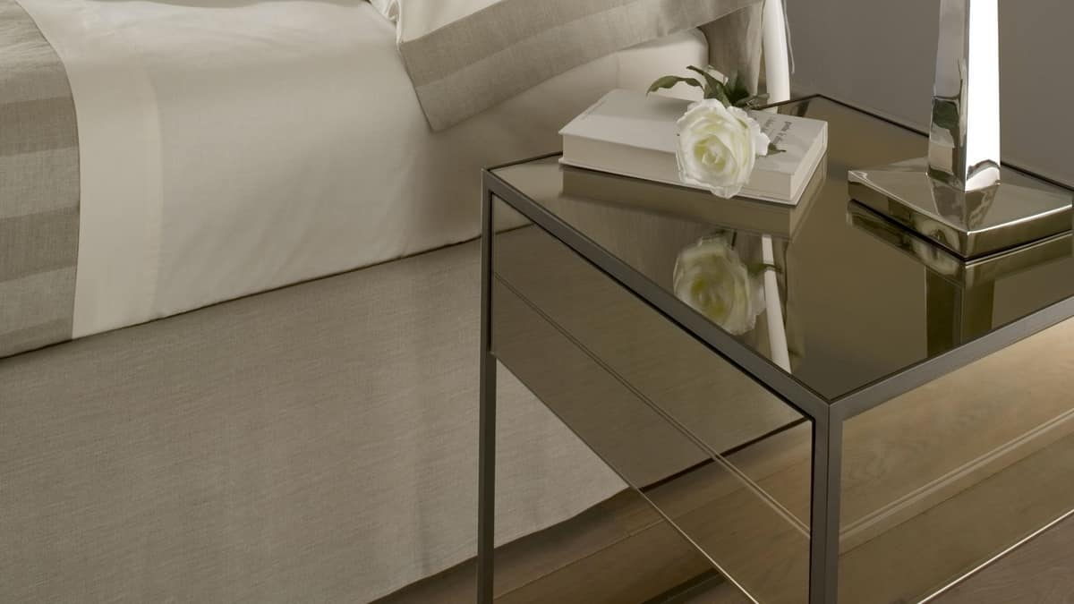 Narciso bedside table, Bedside table with iron structure, covering in mirror