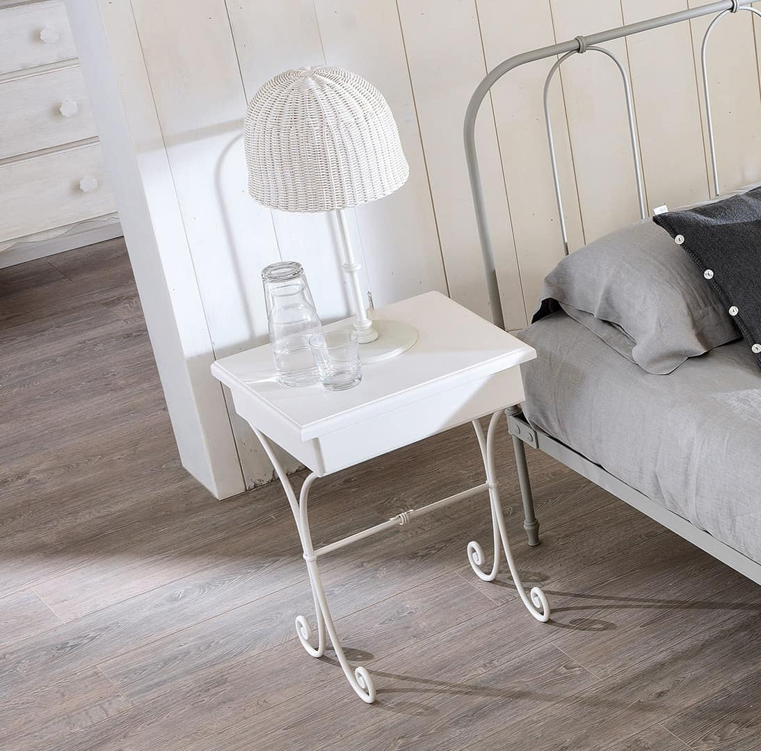 Nuvola Old Style bedside table, Bedside table in curved iron, wood top