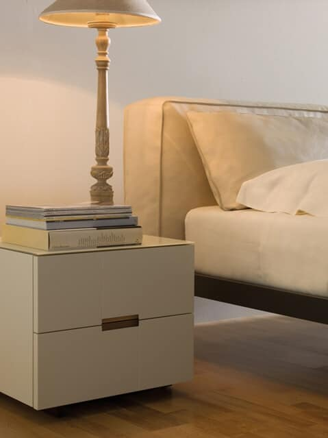 Palea nightstand, Bedside tables with 2 drawers, modern linear, for bedrooms and hotels