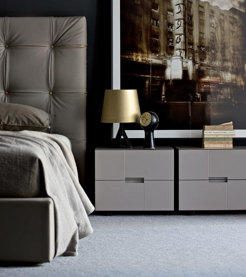 Bedside Tables With 2 Drawers Modern Linear For Bedrooms