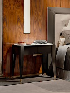 PARK AVENUE Bedside table, Bedside table with white Carrara marble top