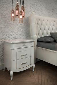Prestige 2 Art. 5306, Bedside table in white lacquered wood