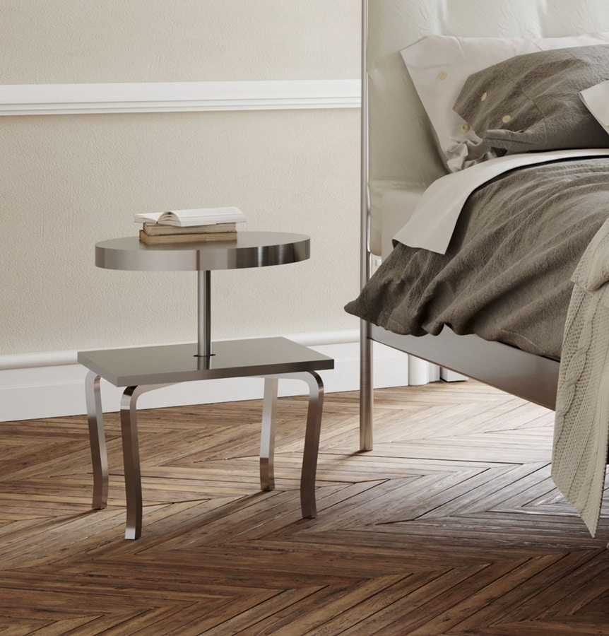 Prince, Modern wood and metal bedside table, steel shelves
