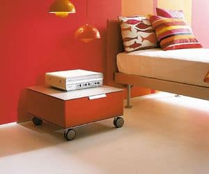 PRISMA comp.06, Modern bedside table with wheels, for the children's room
