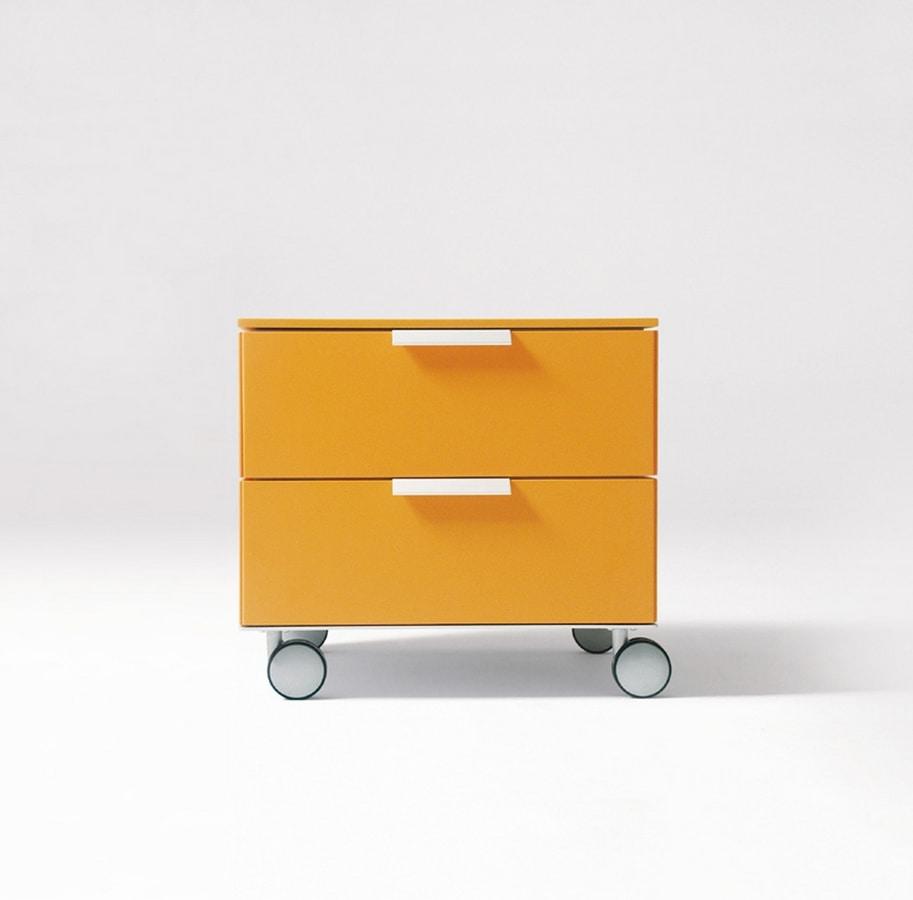 PRISMA comp.02, Modern bedside table, aluminum handle, for children rooms