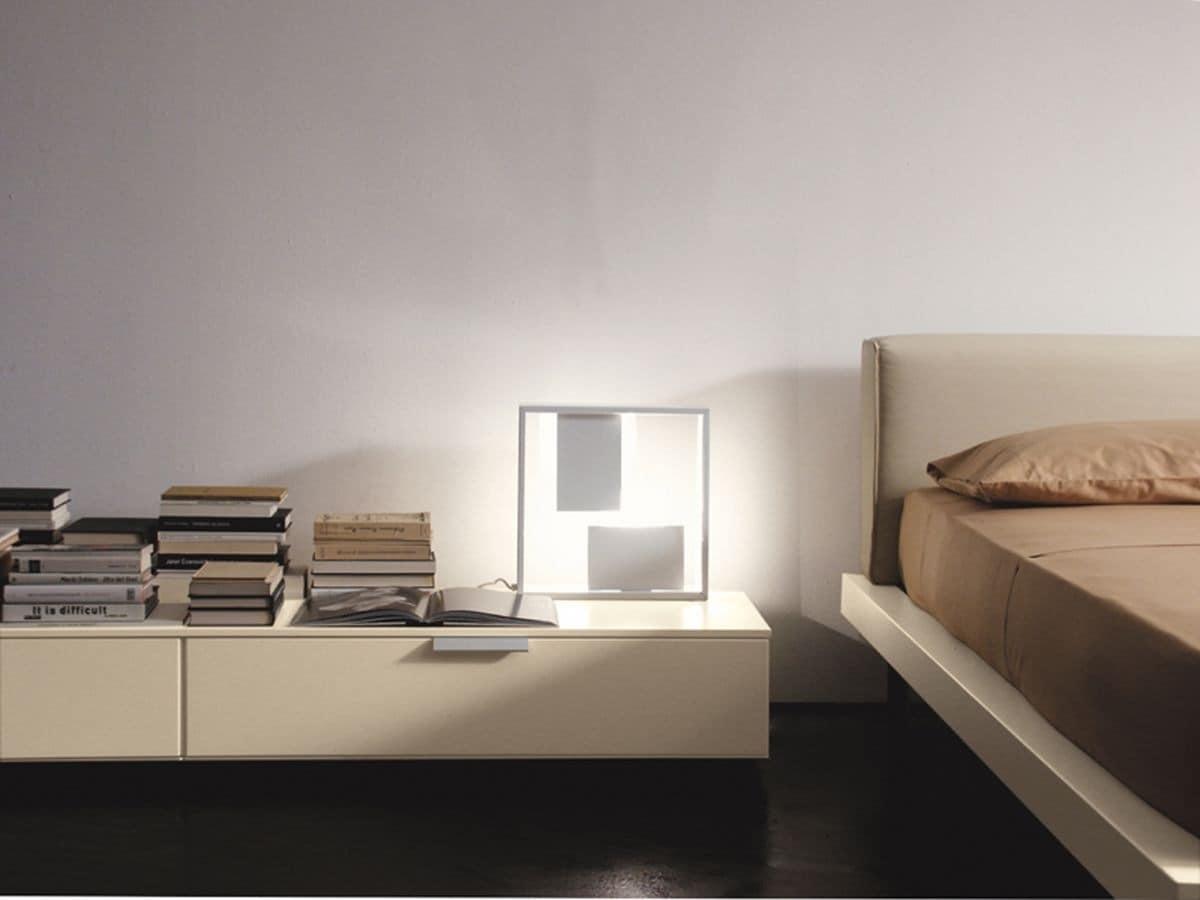 PRISMA comp.08, Modern bedside table, linear design, for the bedroom