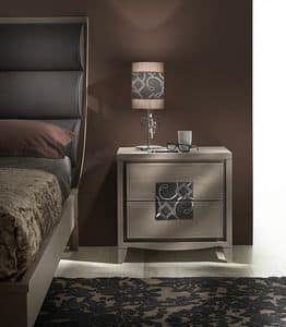 ST 731, Classic bedside table, with insert in embroidered leather