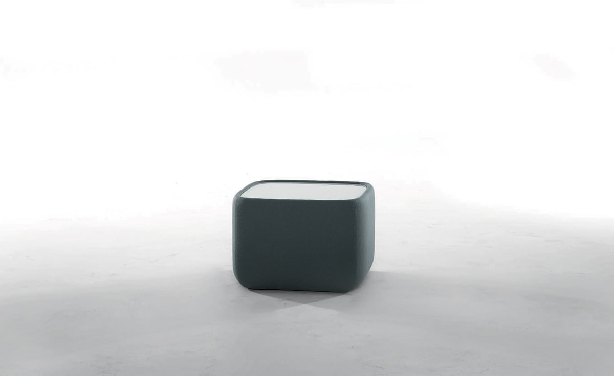 TEENY, Bedside table upholstered in leather or fabric glass top and optional LED light