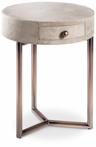 Teo bedside table, Leather Round Bedside Table