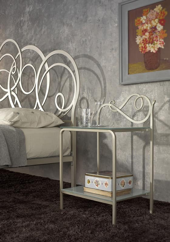 Toledo nightstand, Bedside table in metal with 2 clear glass tops