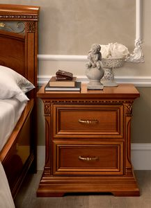 Treviso bedside table, Wooden bedside table with two drawers