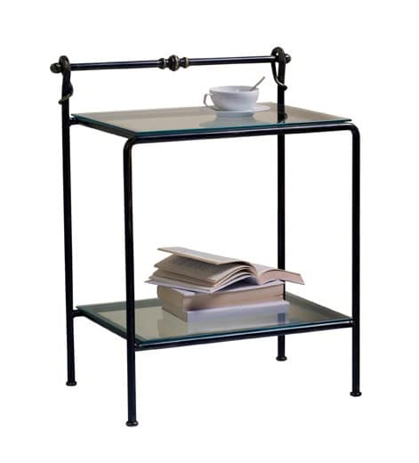 Versilia nightstand, Classic bedside table in metal and glass, for hotel room