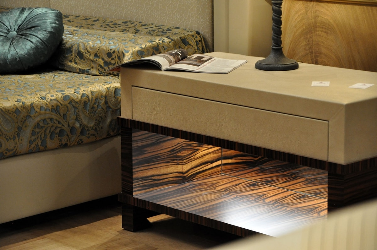 Vip nightstand, Makassar ebony bedside table with fine leather