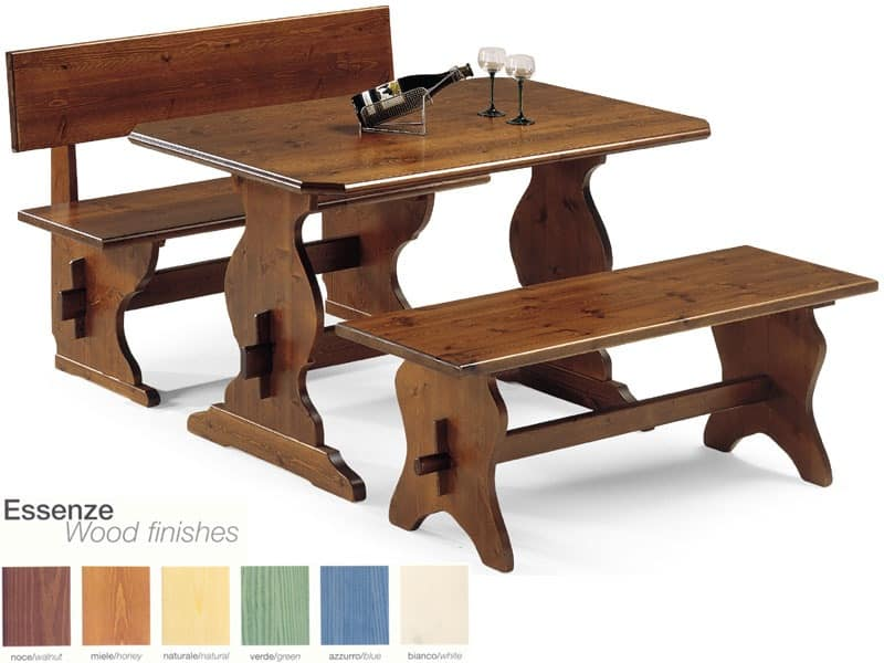 FRA/130, Simple bench made of solid wood, for tavern