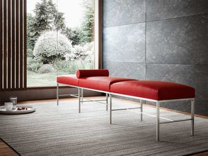 Paesaggio, Contemporary bench for waiting room, essential, metal base