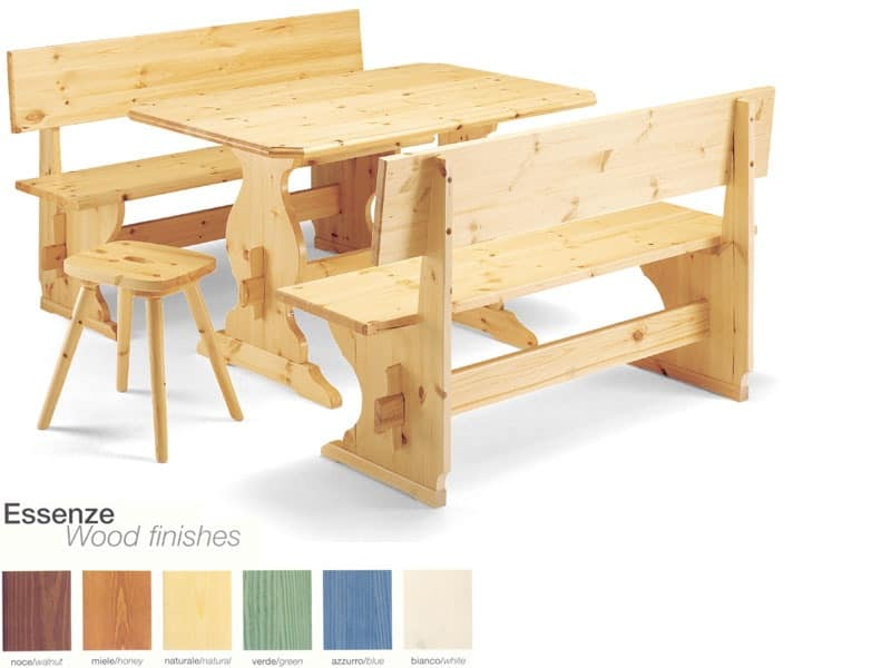 PIZ/130, Wooden bench, rustic style, for hotel and pizzeria