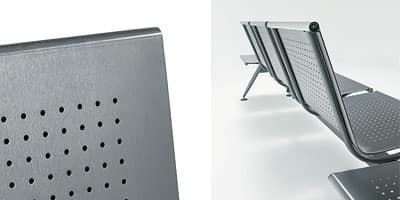 Ulisse inox, Contemporary Modular bench on steel satin beam