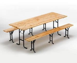 Furniture brewery wooden table and benches - SB223LEG, Benches and table made of spruce, lockable and stable