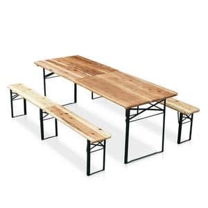 Furniture folding wooden table and benches brewery - SB220PGV, Table and benches in spruce, for outdoor parties