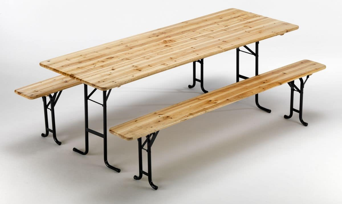 external set wooden benches table – SB220LEG, Table and benches with locking mechanism legs