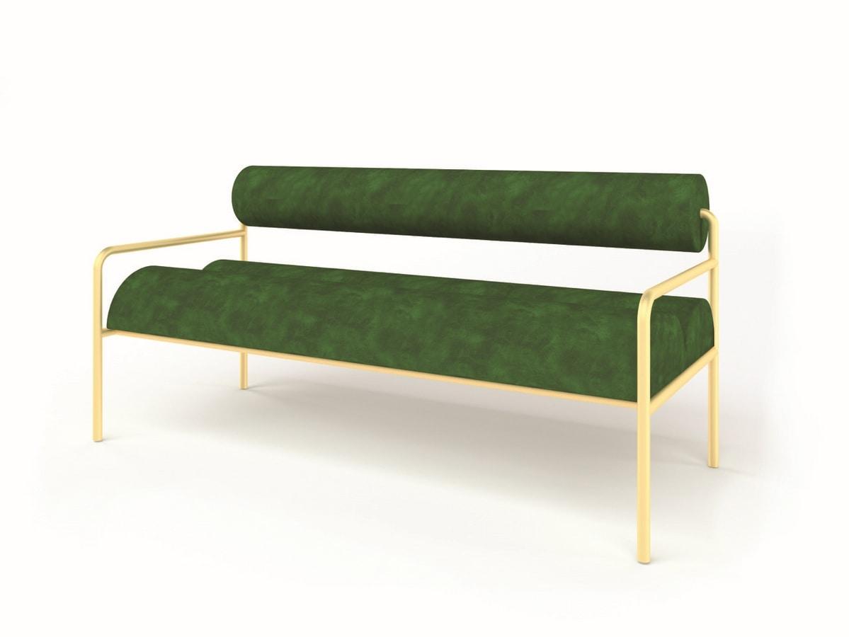 Aliko, Padded small sofa in tubular iron