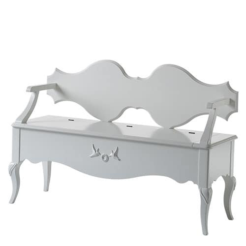 Art. AX518, Wooden bench in white finish, with flap