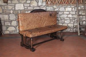 Art. CT 625, Bench with padded calf leather