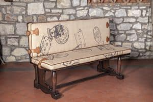 Art. CT 626, Rustic bench upholstered with jute