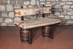 Art. CT 627J, Padded bench in rustic style, barrel seat