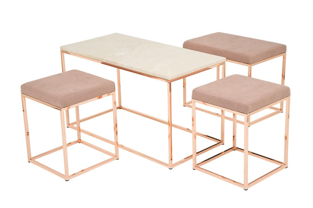 Art.Dalì panca, Padded bench finished in copper, in essential style