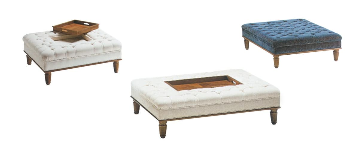 Chiara bench, Padded bench with removable tray