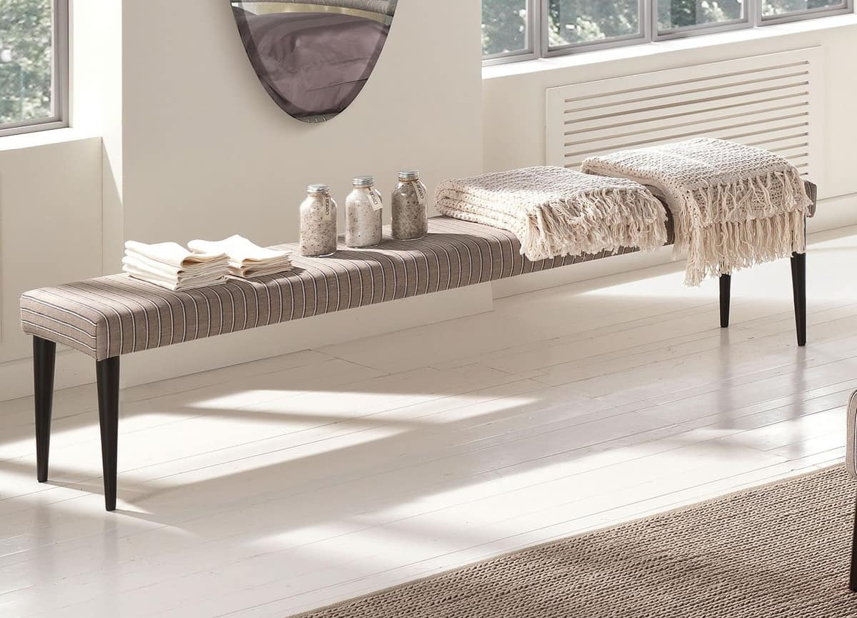 Cocò bench, Bench with feet in tapered metal, padded in rubber