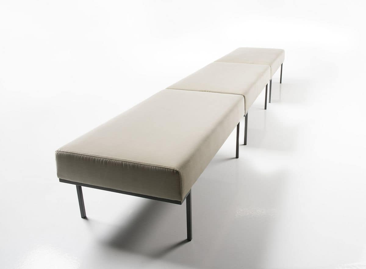 Hall bench, 2-seater bench for waiting areas, painted steel legs